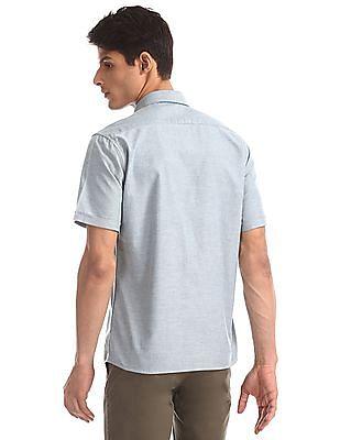 Arrow Sports Green Semi Cutaway Collar Solid Shirt