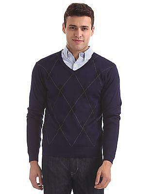 Arrow Long Sleeve V-Neck Sweater