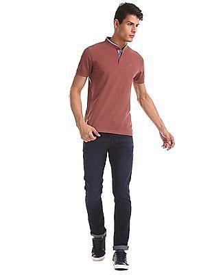 Arrow Sports Red Mandarin Collar Pique Polo Shirt
