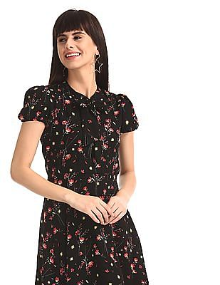 SUGR Black Puff Sleeve Floral Print Fit And Flare Dress