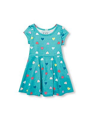 The Children's Place Toddler Girl Short Sleeve Heart Print Skater Dress