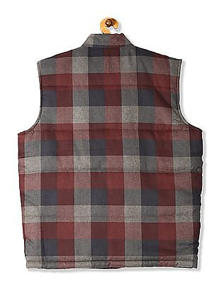 Flying Machine Red Check Gilet Jacket