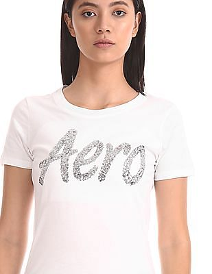 Aeropostale Crew Neck Sequined T-Shirt