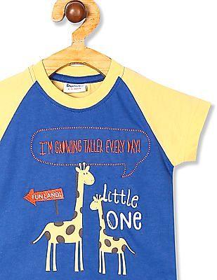 Donuts Blue Boys Raglan Sleeve Printed T-Shirt