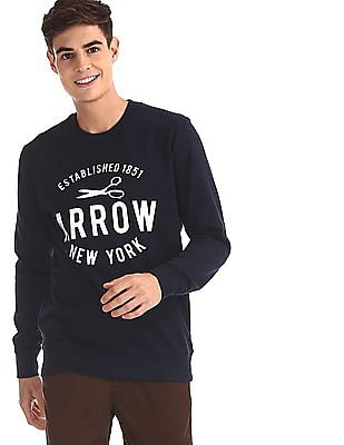 Arrow Sports Blue Crew Neck Printed Sweatshirt