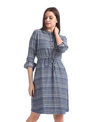 U.S. Polo Assn. Women Blue Patterned Weave Shirt Dress