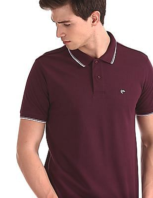 Ruggers Purple Tipped Collar Solid Polo Shirt