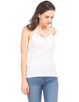 Aeropostale Solid Cotton Elastane Camisole