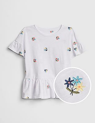 GAP Girls Embroidered Peplum T-Shirt