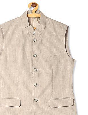 U.S. Polo Assn. Beige Mandarin Collar Patterned Nehru Jacket