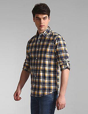 GAP Yellow Roll Up Sleeve Check Shirt