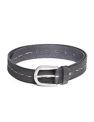 Flying Machine Contrast Stitch Leather Belt