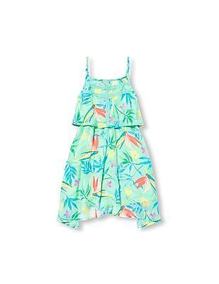 The Children's Place Girls Sleeveless Floral Print Hanky Hem Dress