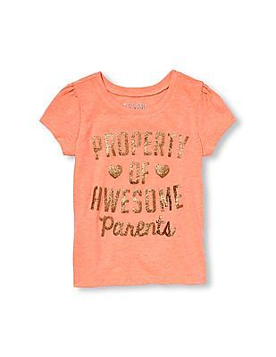 The Children's Place Toddler Girl Short Sleeve Glitter 'Property Of Awesome Parents' Neon Graphic Tee