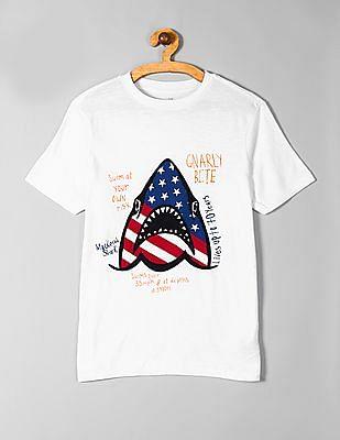 GAP White Boys Americana Graphic Short Sleeve T-Shirt