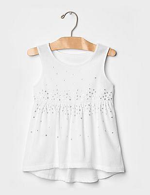 GAP Girls White Embellished Babydoll Tank