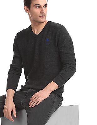 U.S. Polo Assn. Grey V-Neck Heathered Sweater