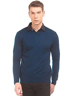 Flying Machine Solid V-Neck Sweater