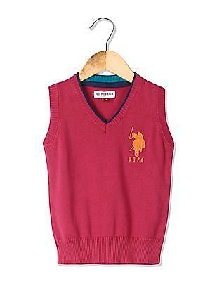 U.S. Polo Assn. Kids Girls V-Neck Sleeveless Sweater