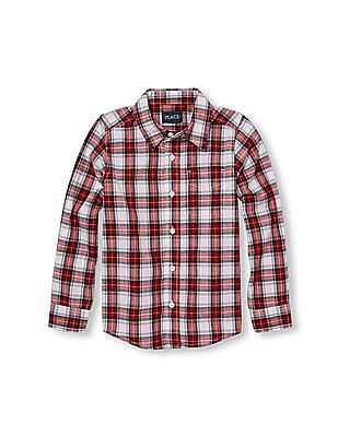 The Children's Place Boys Long Sleeve Plaid Poplin Button-Down Shirt