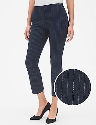 GAP Women Blue High Rise Stripe Crop Kick Pants