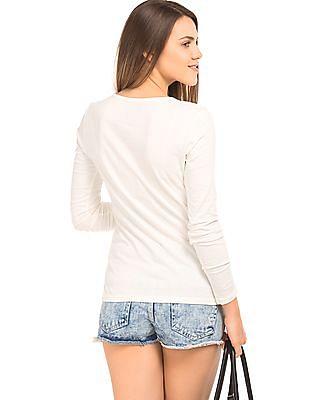 Flying Machine Women Long Sleeve Regular Fit T-Shirt