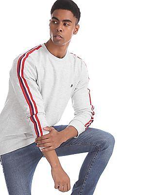 Aeropostale Grey Striped Trim Heathered Sweatshirt