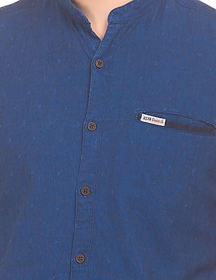 U.S. Polo Assn. Denim Co. Mandarin Collar Textured Weave Shirt