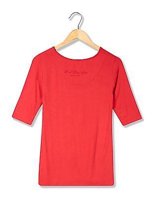 U.S. Polo Assn. Women Solid Round Neck T-Shirt