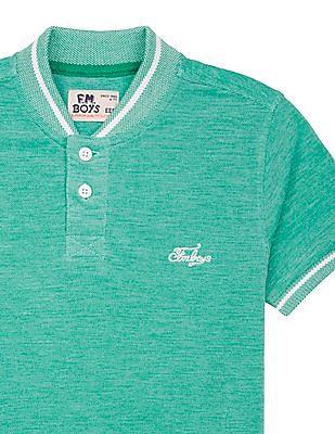 FM Boys Boys Solid Pique Henley T-Shirt