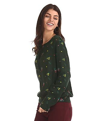 SUGR Green Tie Up Neck Printed Top