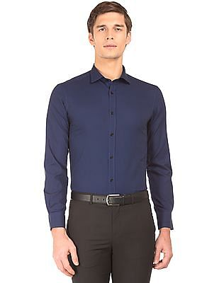 USPA Tailored Patterned Weave Slim Fit Shirt