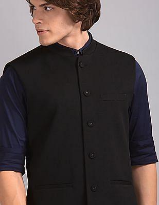True Blue Black Slim Fit Solid Bandi