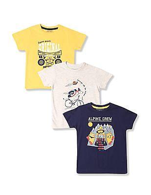 Cherokee Boys Short Sleeve Contrast Print T-Shirt - Pack Of 3