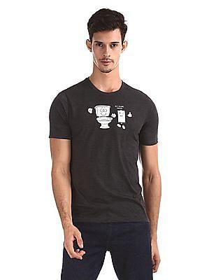 Colt Grey Melange Printed T-Shirt