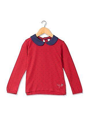 U.S. Polo Assn. Kids Girls Peter Pan Collar Printed Top