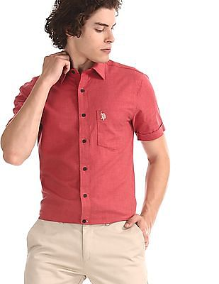 U.S. Polo Assn. Red Patch Pocket Solid Shirt