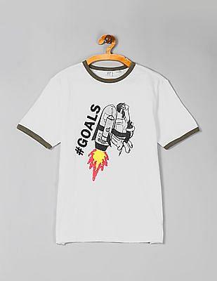 GAP White Boys Flippy Sequin Ringer T-Shirt