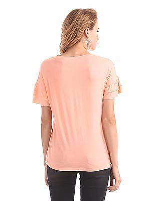 Elle Studio Tiered Sleeve Graphic Top