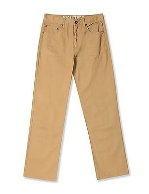 Nautica Kids Boys Flat Front Solid Trousers