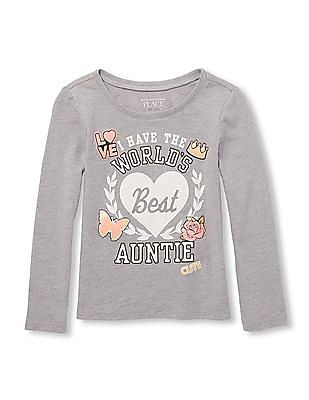The Children's Place Baby And Toddler Girl Long Sleeve Foil 'I Have The World's Best Auntie' Graphic Tee