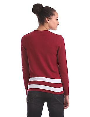 Flying Machine Women Striped Hem Sweater Top