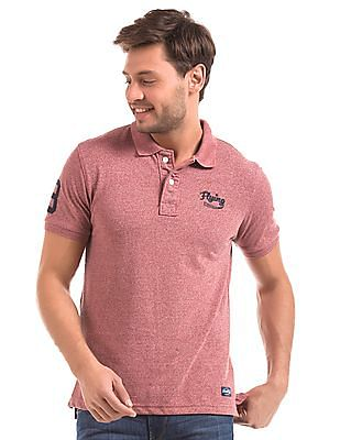 Flying Machine Heathered Regular Fit Polo Shirt