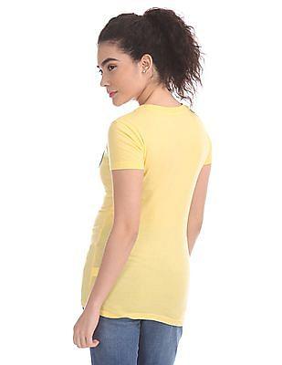 Aeropostale Yellow Brand Applique Cotton T-Shirt