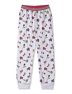Cherokee Grey Girls Floral Print Knit Joggers