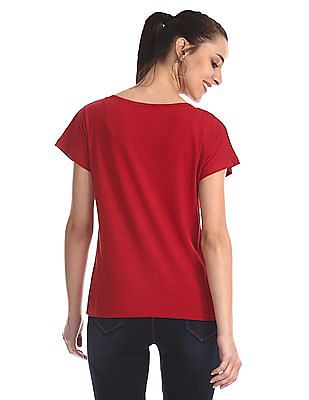 Flying Machine Women Red Flock Print Boxy T-Shirt