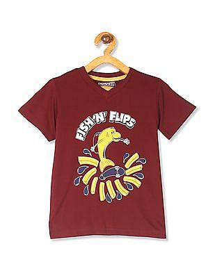 Cherokee Red Boys V-Neck Printed T-Shirt