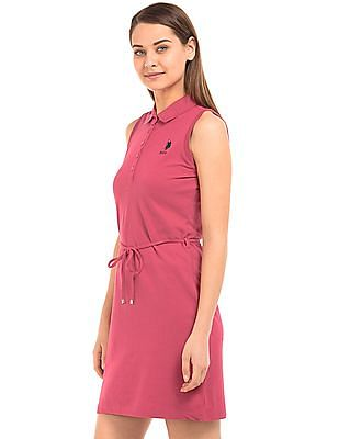 U.S. Polo Assn. Women Belted Pique Polo Dress