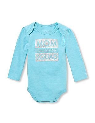 The Children's Place Baby Girls Long Sleeve Glitter 'Mom Daughter Squad' Graphic Bodysuit