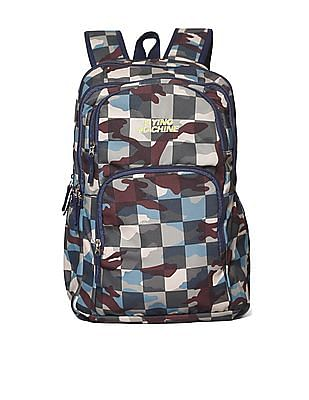 Flying Machine Multi Colour Camo Print Laptop Backpack